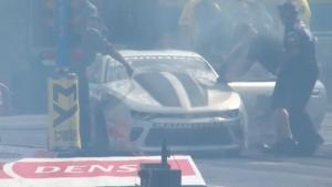 Chris McGaha's Camaro bursts into flames after burnout