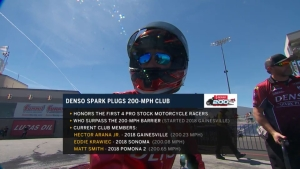 Denso brings the cash to Pro Stock Motorcycle riders who break the 200-mph mark
