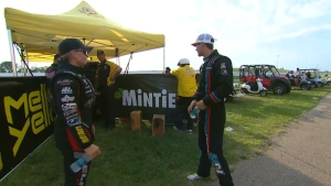 Behind the Visor: Tanner Gray and Erica Enders exchange words at the top end in Topeka