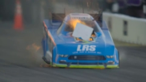 Super Slo Mo: Tim Wilkerson explosion from the 2018 NHRA New England Nationals