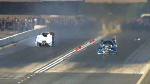 Tommy Johnson Jr. blows body off his Funny Car at 2018 JEGS Route 66 NHRA Nationals in Chicago