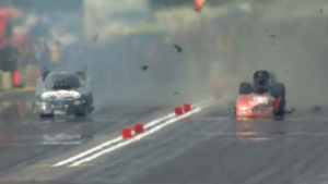 Dale Creasy Jr. blows the body off his Funny Car at the Lucas Oil NHRA Nationals in Brainerd