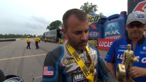 Eddie Krawiec wins Pro Stock Motorcycle Wally for third time in Brainerd at 2018 Lucas Oil NHRA Nationals