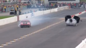Pro Mod racer Mike Bowman crashes at AAA Insurance NHRA Midwest Nationals in St. Louis