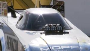 Matt Hagan battles Tommy Johnson Jr. in the second round at the NHRA Toyota Nationals