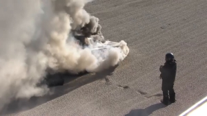 Terry Haddock's Funny Car bursts into flames at Auto Club NHRA Finals in Pomona
